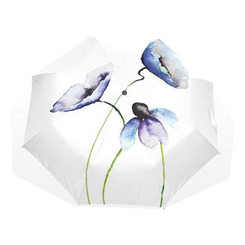 LASINSU Mini Ombrello Portatile Pieghevoli Ombrello Tascabile,Immagine artistica semplice nella composizione nei fiori astratti dei papaveri,Antivento Leggero Ombrello per Donna