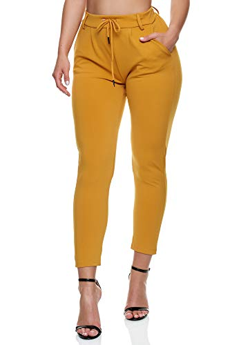 Elara Damen Stoffhose Elegant Chunkyrayan 5897 Yellow-34 (XS)