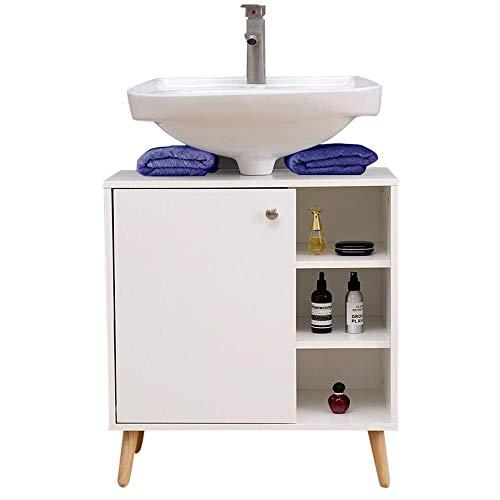 Vanity Unit voor badkamer 62 (L) x32x67 kast onder wastafel voor keuken in hout met deur voor witte planken in vintage benen