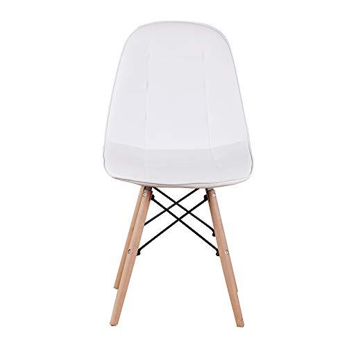 sweethome Set mit 4 Esszimmerstühlen aus PU-Leder Retro Weiß Esszimmerstuhl Bürostuhl Lounge