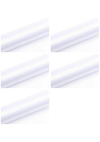 SiDeSo® Organza Rolle 45m x 36cm (5X 9m Rolle) Stoff Hochzeit Tischläufer Deko Floristik (weiß)