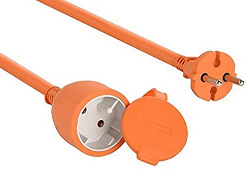 Electraline 4020 04020 Cable alargador eléctrico para jardín, Surtido, 15 M, naranja