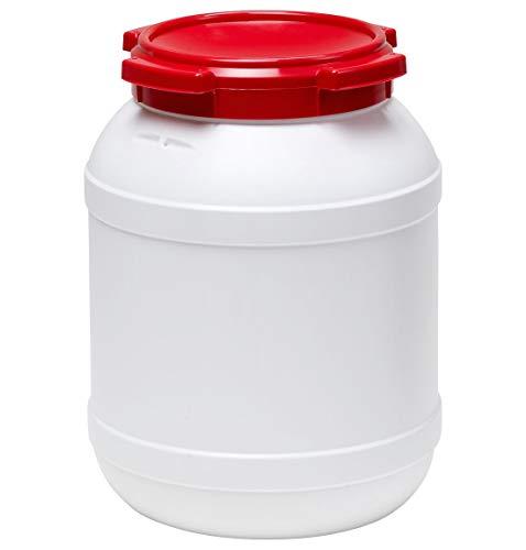 Curtec HDPE Weithalsfass, stapelbar, wasserdicht, temperaturformbeständig bis 80°C, mit rotem Schraubdeckel, Gummidichtung, naturweiß, 26 Liter