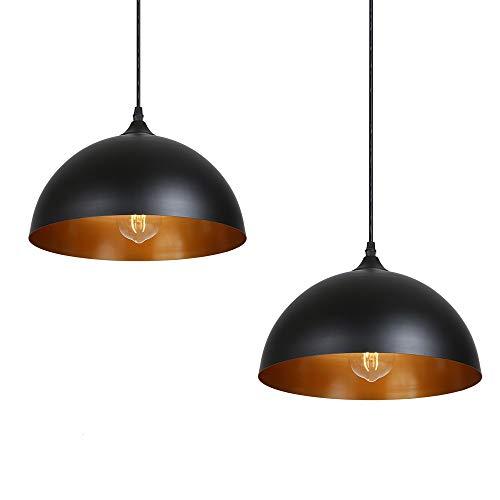 Tomshine Pendelleuchte, 2x Retro Hängelleuchte Hängelampe aus Metall, Industrielle Vintage LED Pendellampe, Ø 30cm, schwarz