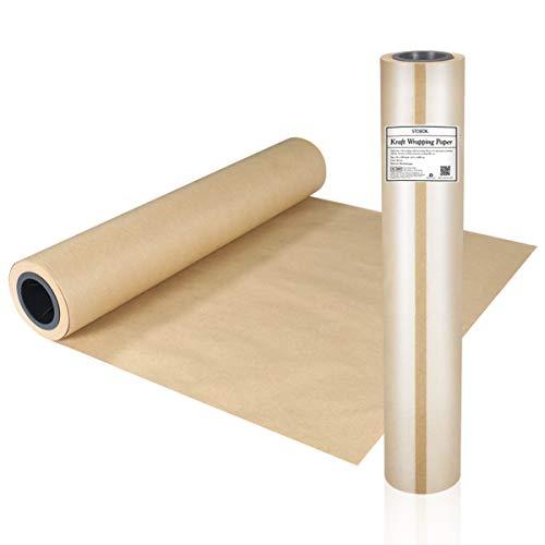 STOBOK Braun Kraftpapierrolle Kraftpapier Rolle 45cm x 30m Natürliches Recyclingpapier Ideal für Kunsthandwerk, Kunst, Kleine Geschenkverpackungen, Verpackung, Post, Versand und Pakete