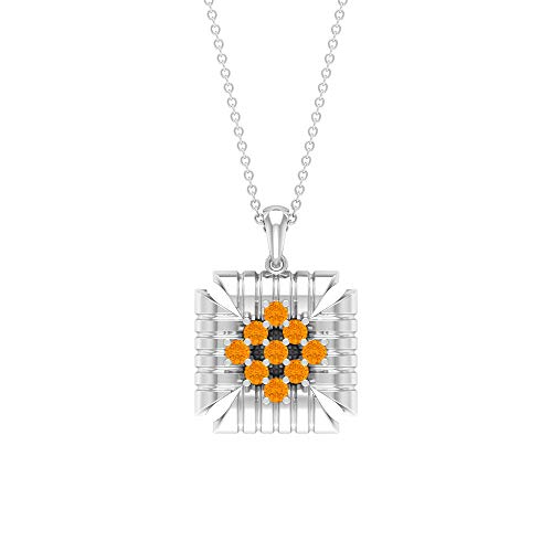 Rosec Jewels 14 quilates oro blanco redonda Orange