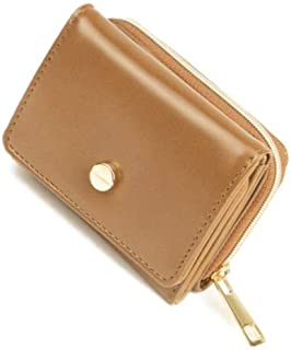 三つ折り財布 ツヤ合皮 シンプル ウォレット コインケース 小銭入れ お札入れ 折りたたみ カード入れ 革 ミニ財布