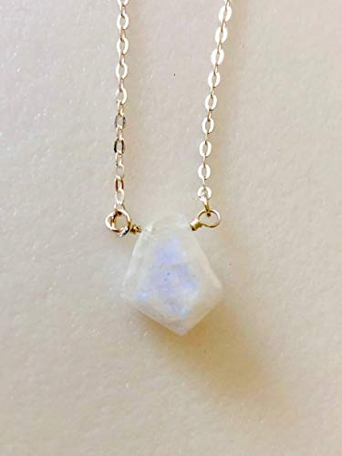 Rainbow Moonstone Rondelle Cut Classic Bar Pendant Necklace and Earrings Gift Set 18k Gold Plt Multiple Size Options