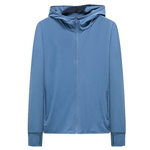 Primavera y verano con capucha piel ropa hombres y mujeres ocio transpirable amantes protector solar abrigo pesca, Azul 1, M