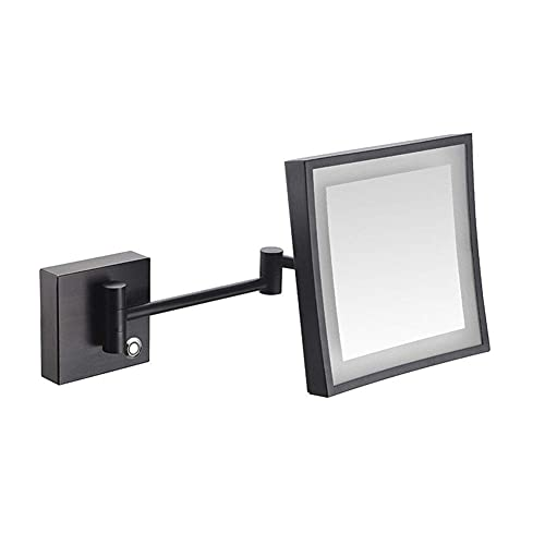Nhlzj XIAOQIANG Wall Mount Makeup Mirror with 3X, 360 Degree Swivel Rotation with Distortion Free View, Single-Sided, Extendable Arm (Color : Matte Black, Size : Plug)