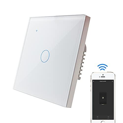 KETOTEK Interruptor Luz Pared Inteligente WiFi Alexa Google Home Compatible [Requiere Cable Neutro] 1 Gang 1 Way, Interruptor Tactil 220V Blanco Tuya Smart Life APP Mando a Distancia