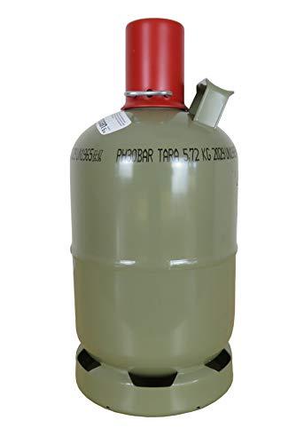 CAGO 5 kg Gas-Flasche Propangas Neu, ungefüllt, leer, für Gasgrill, Gaskocher inkl Gasregler-Löser mit Magnet