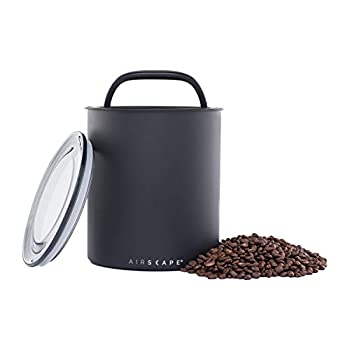 Airscape Coffee Storage Canister  2.5 lb Dry Beans  - Extra Large Kilo Size Container Patented CO2 Releasing Airtight Lid Pushes Air Out to Preserve Food Freshness - Matte Finish Charcoal  Black