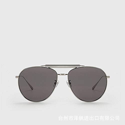 hqpaper Gafas de sol gafas mujer estilo coreano gafas de sapo marea aviador montura grande gafas de sol de metal de moda-04 (B) montura plateada película gris oscuro
