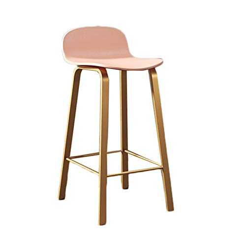 FENGYANFANG- Metal Bar Stools Counter Height Barstool with Backrest and PP Cushion Indoor Outdoor Patio Bar Stool Home Kitchen Dining Stool Bar Chair 75cm (Color : Pink-1)