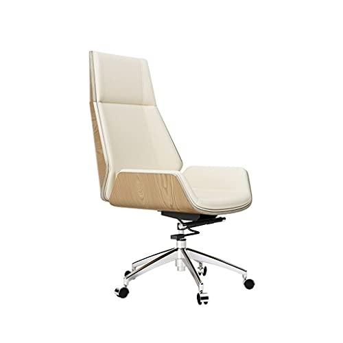 Fevilady Silla de escritorio, simple y moderna, silla de oficina, ligera, de lujo, de cuero, de estudio, de respaldo, silla ejecutiva, sillas nórdicas (color: blanco)