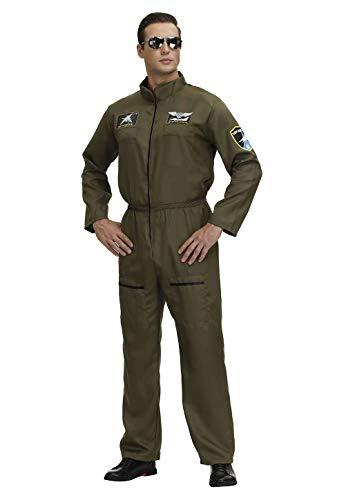 jutrisujo top Gun kostüm Herren Kampfjet Pilot Aviator Playsuit Army Armee Bundeswehr Sexy Halloween Cosplay Party Armeegrün L