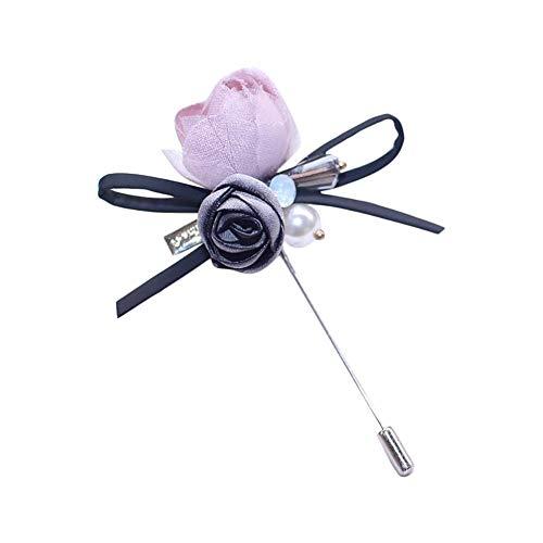 Dosige Flower Reverse Flower Broche Stick voor Flower knoopsluiting voor heren kostuum Grijs