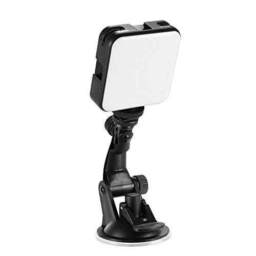 Andoer Iluminación Kit: Mini Bicolor LED Light,2500K-6500K Regulable 3 Cold Shoes + Soporte de Ventosa para Transmisión en Vivo, Selfie, Maquillaje, Videoconferencia, Youtube, TikTok