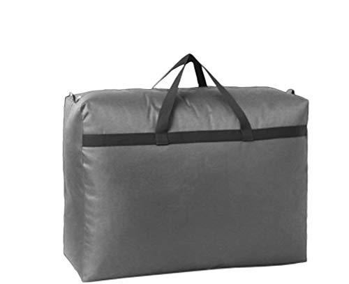 BoruisX Lot de 2 grands sacs de rangement pour vêtements intérieurs, coussins de rangement imperméables en tissu Oxford noir avec fermeture éclair, gris, L 80x60x30cm