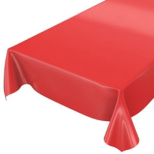 ANRO Wachstuchtischdecke Wachstuch abwaschbare Tischdecke Uni Glanz Einfarbig Rot 100x140cm