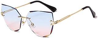 WENYOG - WENYOG Gafas De Sol Gafas de Sol sin Montura Lujo Metal Metal Gafas de Sol Moda Lady Shades Gafas De Sol Mujer (Lenses Color : 01)