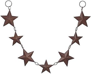 "Darice 6557-97 Tin Star Rusted Garland, 24"",Brown"