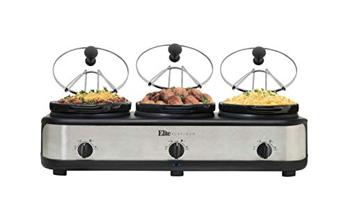 Elite Platinum EWMST-325 Maxi-Matic Triple Slow Cooker Buffet Server Adjustable Temp Dishwasher-Safe Oval Ceramic Pots, Lid Rests, 3 x 2.5Qt Capacity, Stainless Steel, Black/Silver