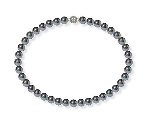 Schmuckwilli Damen Muschelkernperlen Perlenkette Schwarz mit Violett Glanz Magnetverschluß echte Muschel 42cm dmk1014-42 (10mm)