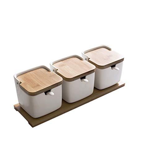 Tarro de cerámica para condimentos con cuchara de azúcar y tapa de b