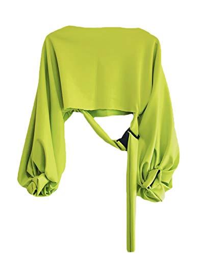 Pullover Mujer Camisas Sin Barriga Otoño Colores Sólidos Mode De Marca Manga Linterna Casual Primavera Cinturón Sudaderas Top (Color : Verde, Size : L)