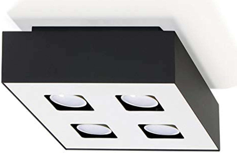 Sollux Lighting MONO 4 Plafond, Stahl, Schwarz, Wei
