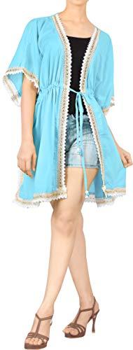 LA LEELA Women's Mini Casual Kimono Cardigan Swim Cover Ups US 16-30W Blue_N139