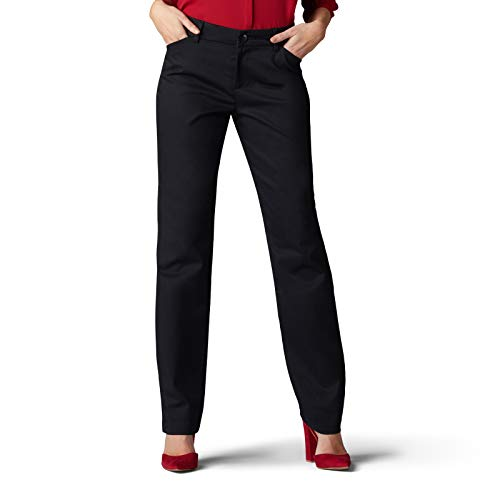 Lee Women s Wrinkle Free Relaxed Fit Straight Leg Pant, Black, 10 Long