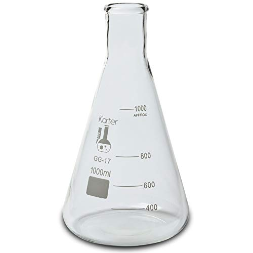 3000ml Narrow Mouth Erlenmeyer Flask, 3.3 Borosilicate Glass, Karter Scientific 213G16 (Single)