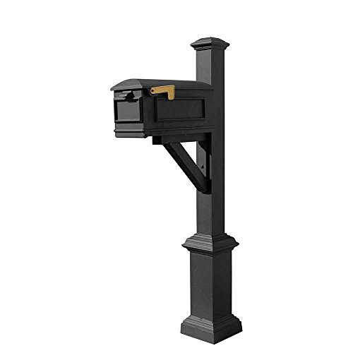Qualarc WPD-SB1-S7-LMC-BL Westhaven Cast Aluminum Post Mount System with Lewiston Mailbox, Square Base and Pyramid Finial, Ships in 2 Boxes, Black
