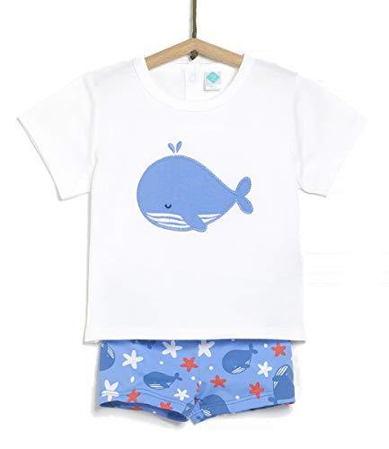 TEX - Conjunto Camiseta y Bóxer de Baño Unisex, Blanco Neutro, 36 Meses