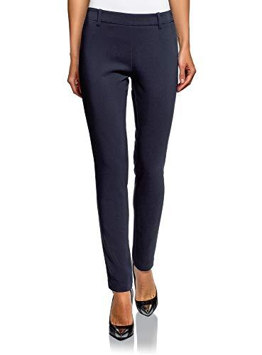 oodji Ultra Mujer Pantalones Ajustados con Cintura Elástica, Azul, ES 44 / XL