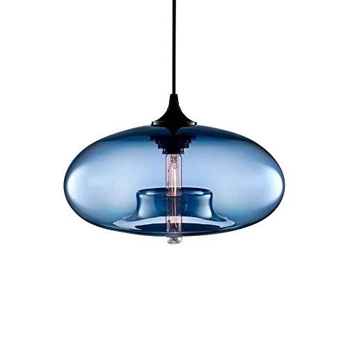 Wlgt Colgante Moderna Industrial esférica de Cristal Azul Colgante de la lámpara del Techo del Restaurante Accesorio Ligero for Cafe Bar Habitación Sala Tienda de Ropa Tienda de Hotel Burbuja luz E27