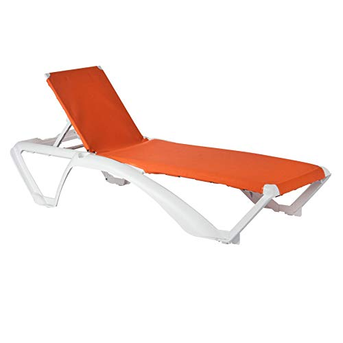 Resol Marina Sun Lounger – White Frame with Orange Canvas Material – Pack of 2 Sun Loungers