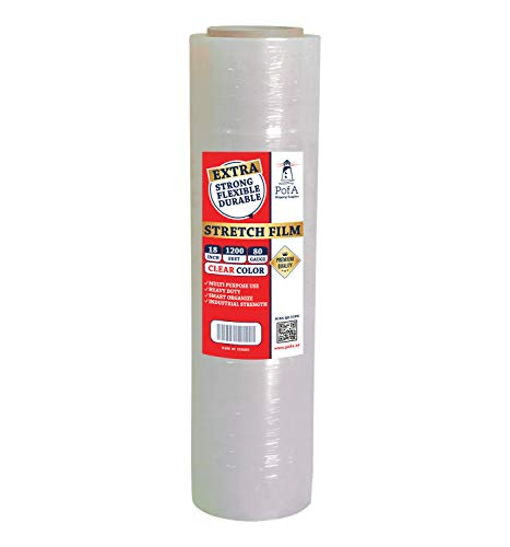 PofA Stretch Film Plastic Wrap Clear 1 Roll - 18 Inch x 1200 Feet x 80 Gauge (20 Micron), Industrial Heavy Duty Shrink Wrap for Packing, Shipping, Pallet, Cling, Furniture, Moving Supplies