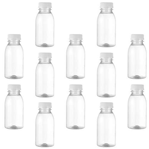 DOITOOL Botellas de Jugo de Plástico de 12 Piezas Envases Transparentes Desechables Reutilizables con Tapas a Prueba de Manipulaciones Tapas para Jugo Leche Y Bebidas Limonadas 250 Ml