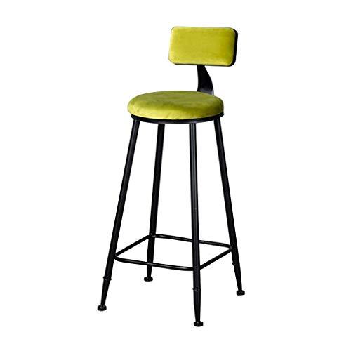HLL Sgabelli, Casa elegante Decoro dei mobili Industrial Metal Bar Sgabello Sedia da pranzo con schienale, poggiapiedi Indoor/Outdoor Kitchen Bar Altezza sgabello,limone verde,Seduto altezza: 75cm