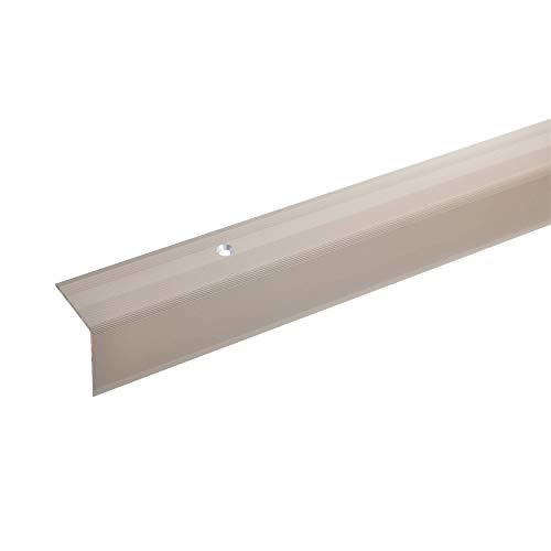 acerto 38058 Aluminium Treppenwinkel-Profil - 100cm, 32x30mm, bronze hell * Rutschhemmend * Robust * Leichte Montage   Treppenkanten-Profil, Treppenstufen-Profil aus Alu   Gelochtes Stufenkanten-Profil