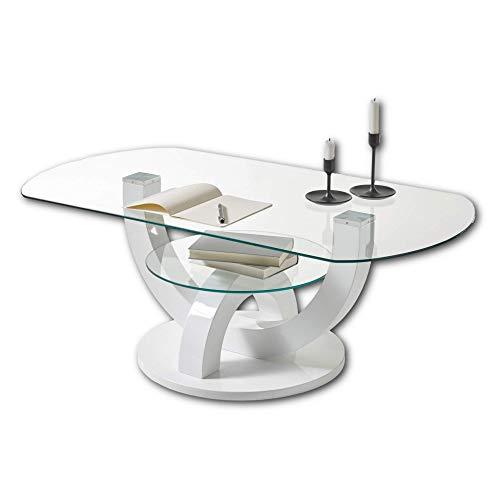 BOSTON Couchtisch Glas in Hochglanz weiß - stylisher Glastisch mit Ablage & geschwungenem Gestell in U-Form für Ihren Wohnbereich - 110 x 40 x 60 cm (B/H/T)