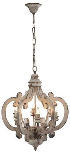 "A&B Home Wood and Metal Chandelier, 20.5"" x 18"" x 24"""
