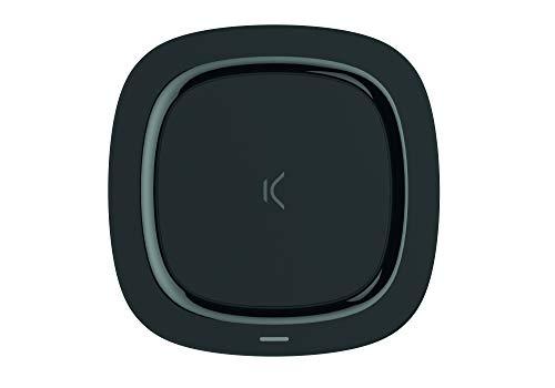 Ksix BXCQI07 Cargador Inalámbrico sin Cables para Carga Rápida de10W, Compatible con carga rápida de Apple, Diseño Compacto y Ligero, Color Negro