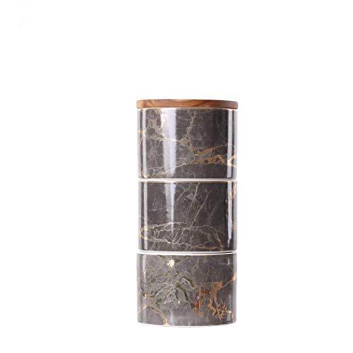 Tarro de almacenamiento de alimentos con cierre hermético Tapa de bambú, recipiente apilable de varios niveles Contenedor de alimentos de cocina Tarro hermético 3 pilas, vajilla de utensilios para azú