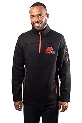 NFL Cleveland Browns Mens Quarter Zip Fleece Pullover Sweatshirt with Zipper Pockets, Black, Medium