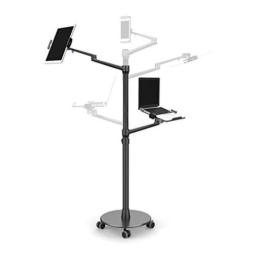 Simple y Moderno Portátil Púlpito de pie - Aleación de Aluminio + ABS + Silicona - Rango de Altura Ajustable: 75-123 cm - Rotación de elevación Soporte de Suelo con Ruedas